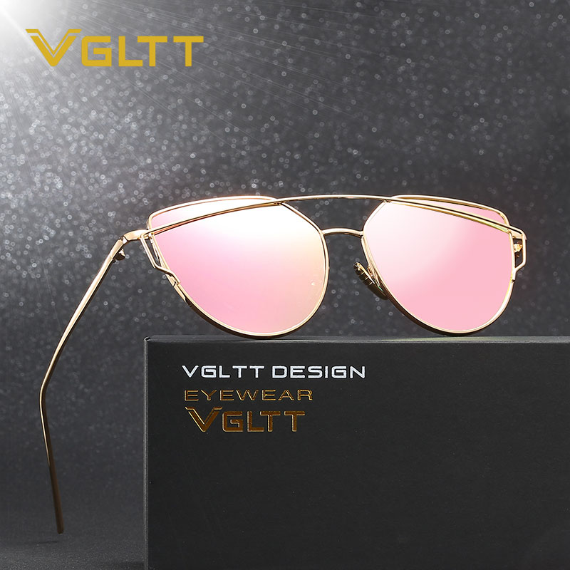 VGLTT Cat Eye Women Sunglasses 2016 New Brand Design Mirror Flat Rose Gold Vintage Cateye Fashion