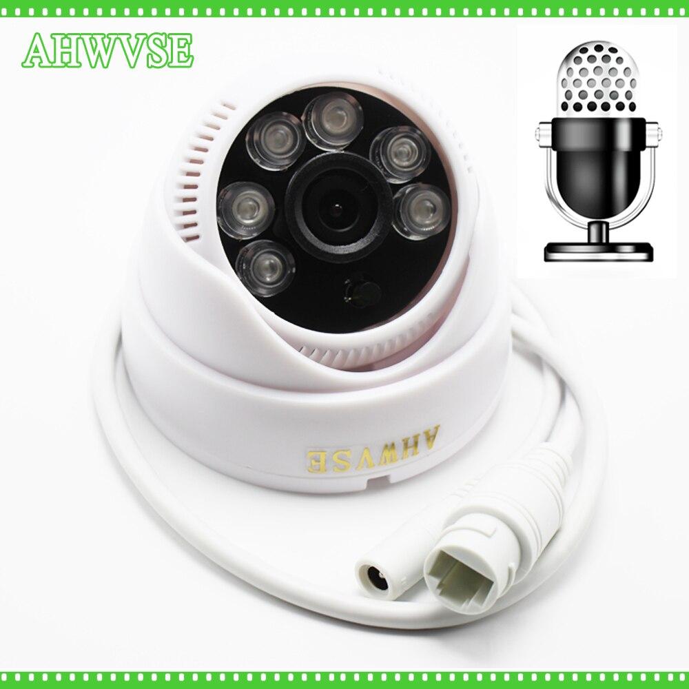 AHWVSE Ultra Faible Éclairage Full HD Caméra Dôme Intérieure Entrée Audio Micro Caméra IP Audio ONVIF L'IRCUT