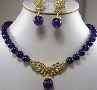 wholesale Cheap 8mm natural Purple gem earring&necklace Set Jewelry for women real natural beads