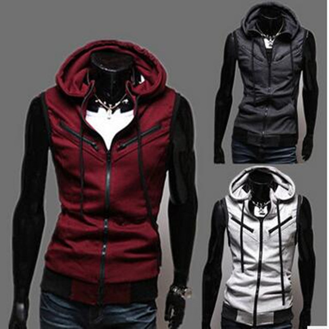 New 2017  Casual  Male Sleeveless Hoodies Sweatshirt Slim Cardigan Male Zipper Vest  FreeShopping