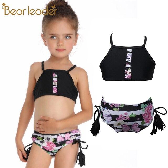 9ff405c4ff Bear Leader New Summer girls Close-fitting elastic printing swimsuit girls  split Two-pieces Swimwear, children print wholesale