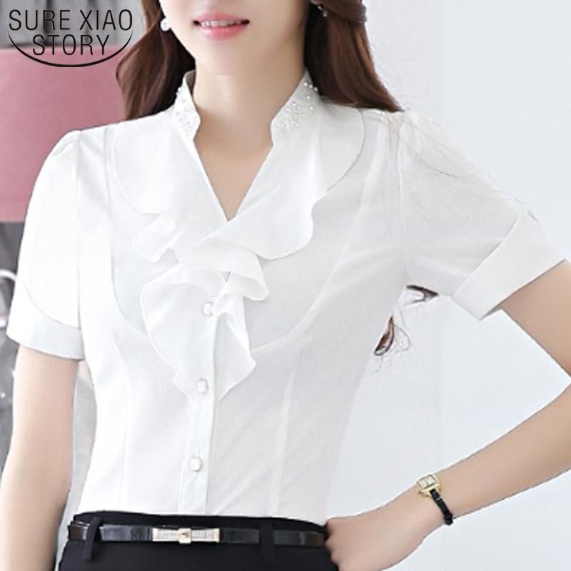 2019 New Arrival Short Sleeve   Blouse     Shirt   Women Tops and   Blouse   Cool Office   Shirt   Female Korean Version Lotus Leaf Slim 3682 50