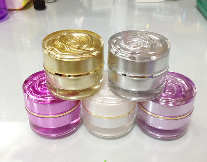10g 10ml Cosmetics Cream Containers acrylic Empty Sample Packaging Jars Bottles Ointment wax Cosmetics bottle 100pcs