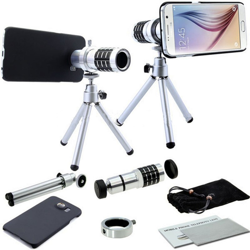 12x Zoom Optical Telescope Tripod Telephoto <font><b>Lens</b></font>+Phone Stand Holder For Samsung Galaxy S3 S4 <font><b>S5</b></font> S6 S7 EDGE Plus Cases LensesKit image