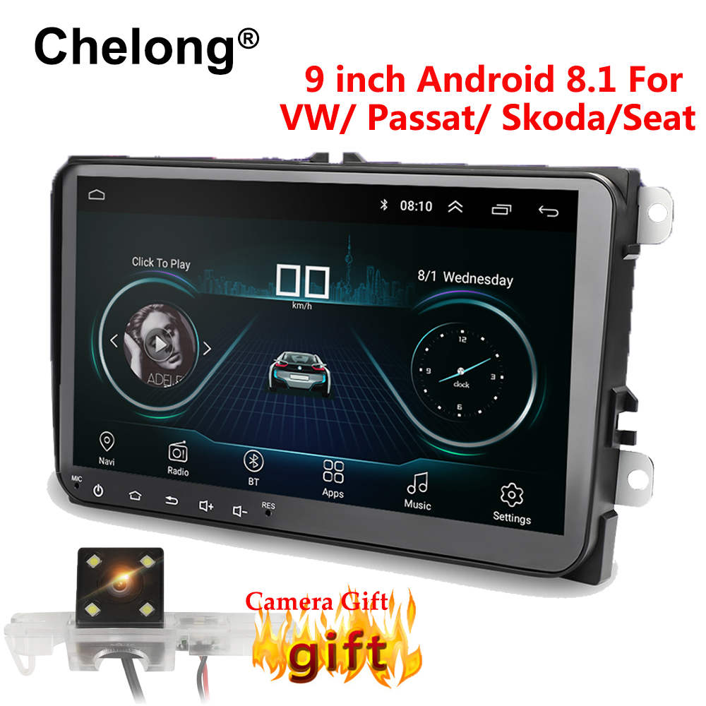9 pouces Android 8.1 Double 2Din autoradio GPS Auto radio 2 Din USB pour Volkswagen/Passat/GOLF/Skoda/siège Wifi bluetooth 2din