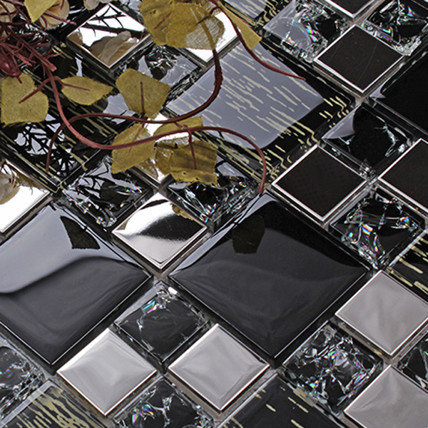 Glass Mosaic Adhesive Black Tile Backsplash Interior Wall Cladding Impressive Images Of Glass Tile Backsplash Interior