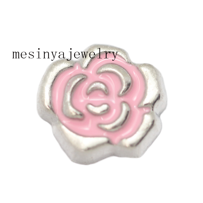 10pcs rose flower floating charms for glass locket Min amount $15 per order mixed items, FC-677