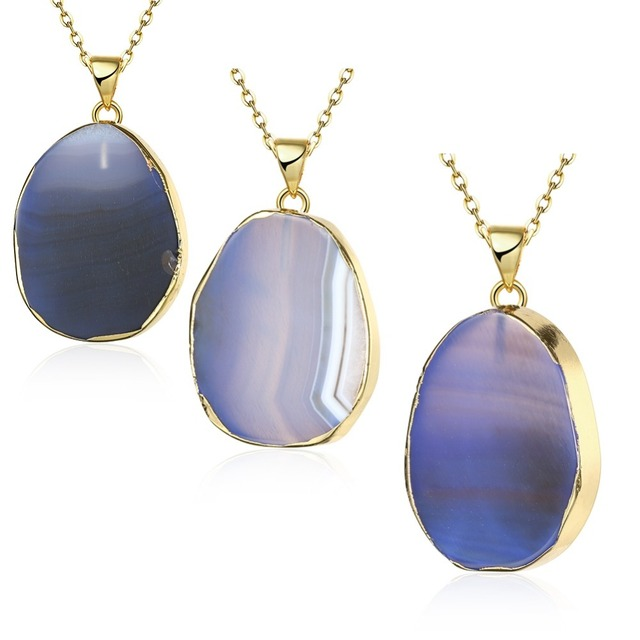 Natural stone personality blue agate necklace waterdrop shape natural stone personality blue agate necklace waterdrop shape pendant jewelry making multicolor charms diy women men aloadofball Choice Image