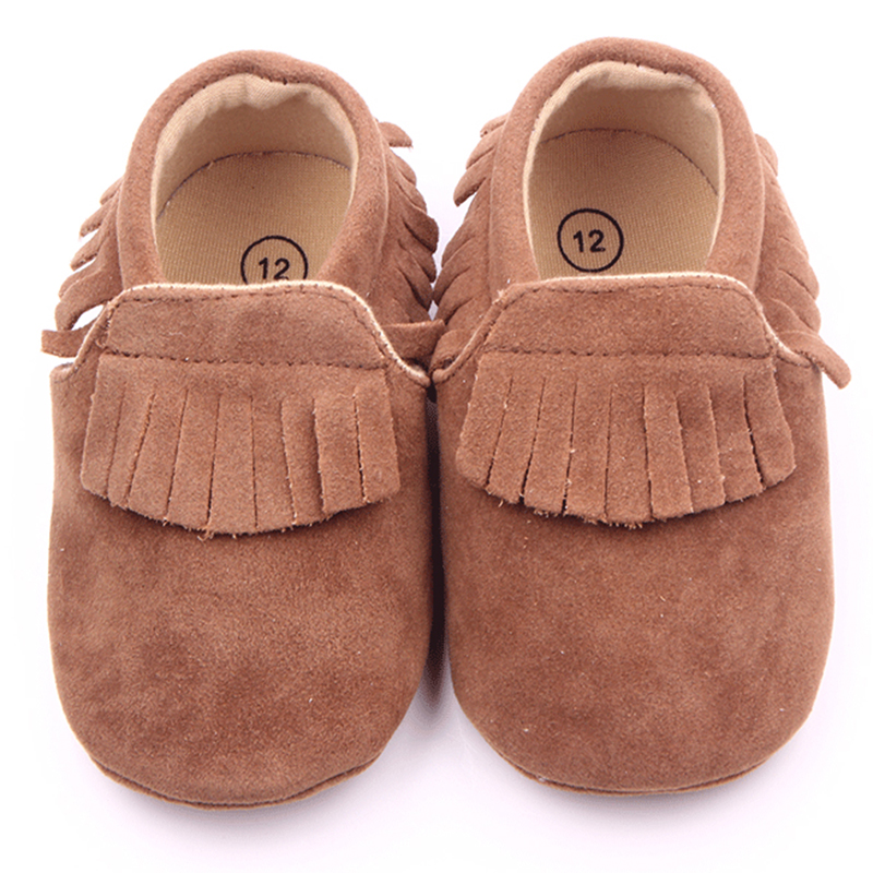 Beautiful Fringe Design TPR Sole Soft Leather Baby Moccasins Shoes For Girls 0-15 Months