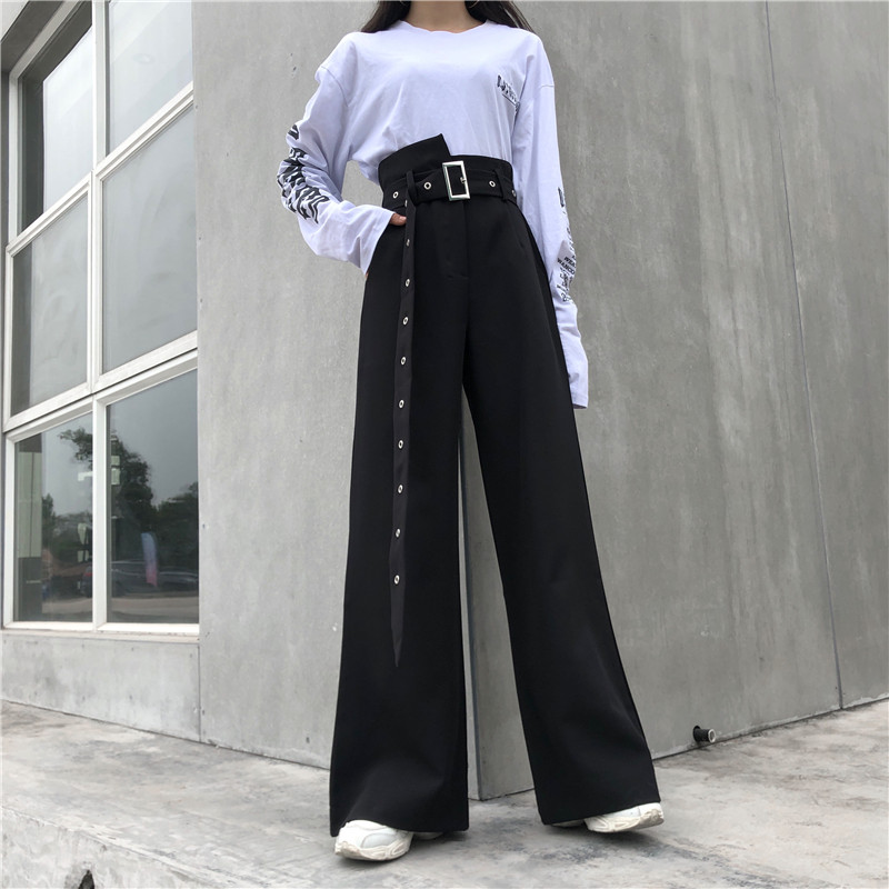 Women Harajuku Solid   Wide     Leg     Pants   2019 New Summer Ulzzang Basic Loose Slim High Waist Trousers Women