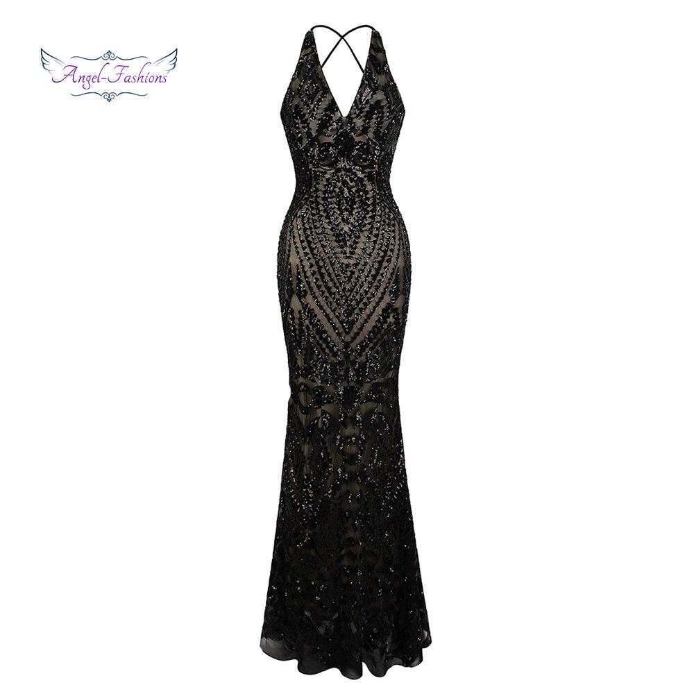 Angel-fashions Vintage Gatsby Partie Sequin Sirène Longue Robe De Soirée Abendkleid 381