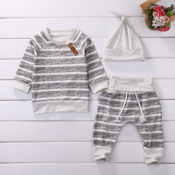 Gray cotton Newborn Baby Girls Clothes Striped Tshirt Tops Pants Leggings hat Outfit 3PCS Baby Clothing Set for infant kid boy 1