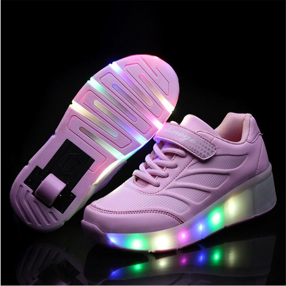 Roller shoes cheap - New Children Roller Shoes Boy Girl Led Lighted Shoes Flashing Roller Skates Kids Shoes With Wheel