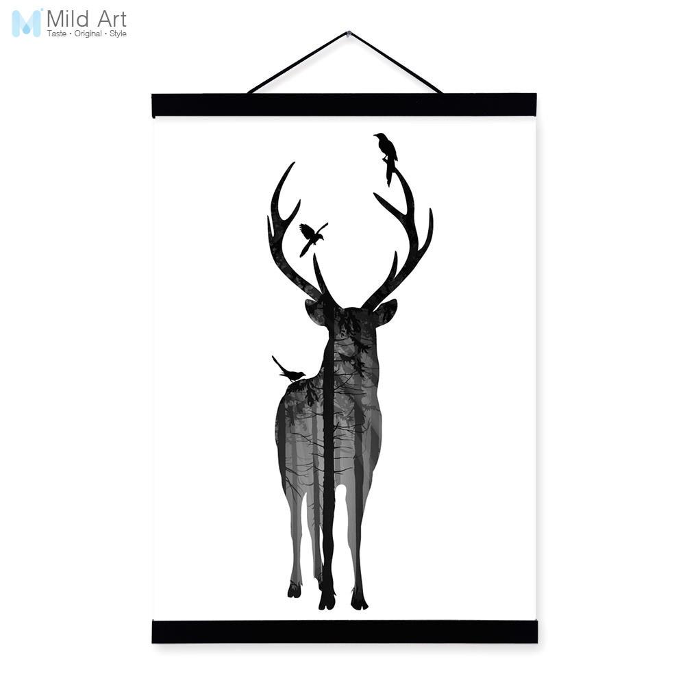 Deer Vogel Schwarz Weiß Nordic Minimalistische Tier Silhouette Holz ...