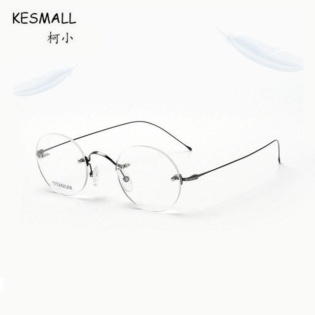 KESMALL 2018 New Fashion Round Shaped Glasses Frame Men Rimless ...
