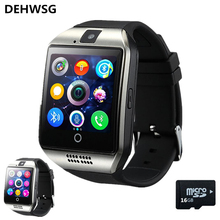 Free shipping Q18 Passometer Smart watch with Touch Screen camera TF card Bluetooth smartwatch For Android IOS Phone dz09 A1 Y1