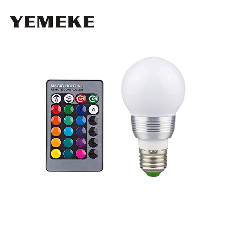 E14 E27 Led Dimmable RGB Led Bulbs 3W Colorful RGB Led Lamp Chandeliers Light for home decorative lamp+24 Key Remote Controller