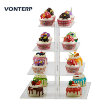 VONTERP 1 pc square transparent 4 Tier Acrylic Cupcake Display Stand /acrylic cake stand Square(4.7 between 2 layers)