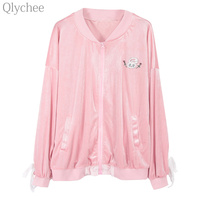Qlychee Autumn Women Harajuku Coat Rabbit Embroidery Lace Up Velvet Jacket Solid Color Casual Loose Outerwear