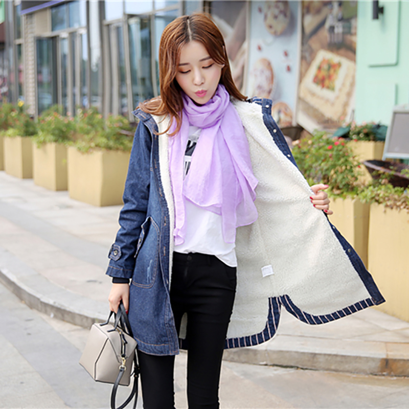 Korean Winter Women Medium Long Parkas Female Hooded Denim Blue Jackets Thick Plus Cotton Coats Full Sleeve Outerwear OL S 3XL