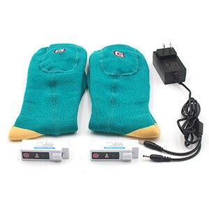 Носки с электрическим подогревом теплые носки с перезаряжаемой батареей 3,7 вольт эластичные теплые носки для здоровья для помещений и активного отдыха - Цвет: Green and Yellow