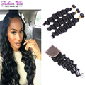 Grade 10A Brazilian Loose Wave With Closure Unprocessed Brazilian Virgin Hair 3 Bundle With Closure Loose Deep Wave With Closure