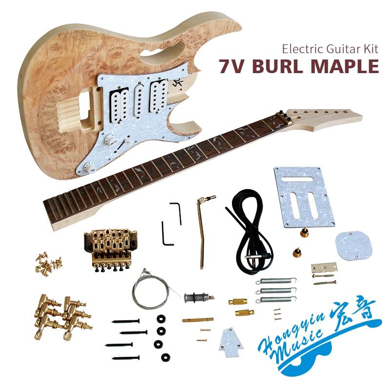 Bricolage 7V Kit de guitare électrique érable ronce placage tilleul corps palissandre touche Durable érable cou guitare accessoires ensemble