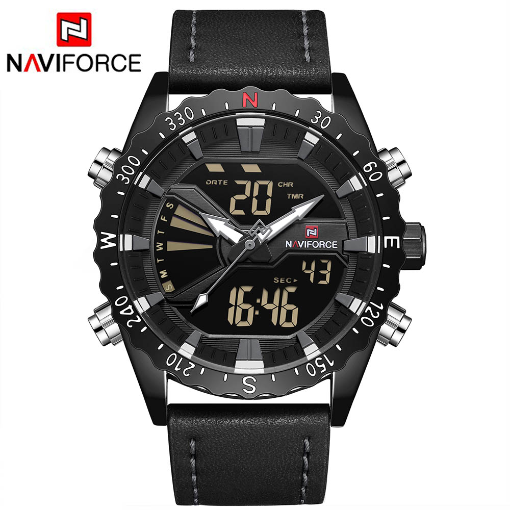 NAVIFORCE Leather Band Mens Sport Watch Men Analog Digital LED Watches Dual Time Clock Waterproof Wristwatches Relogio Masculino