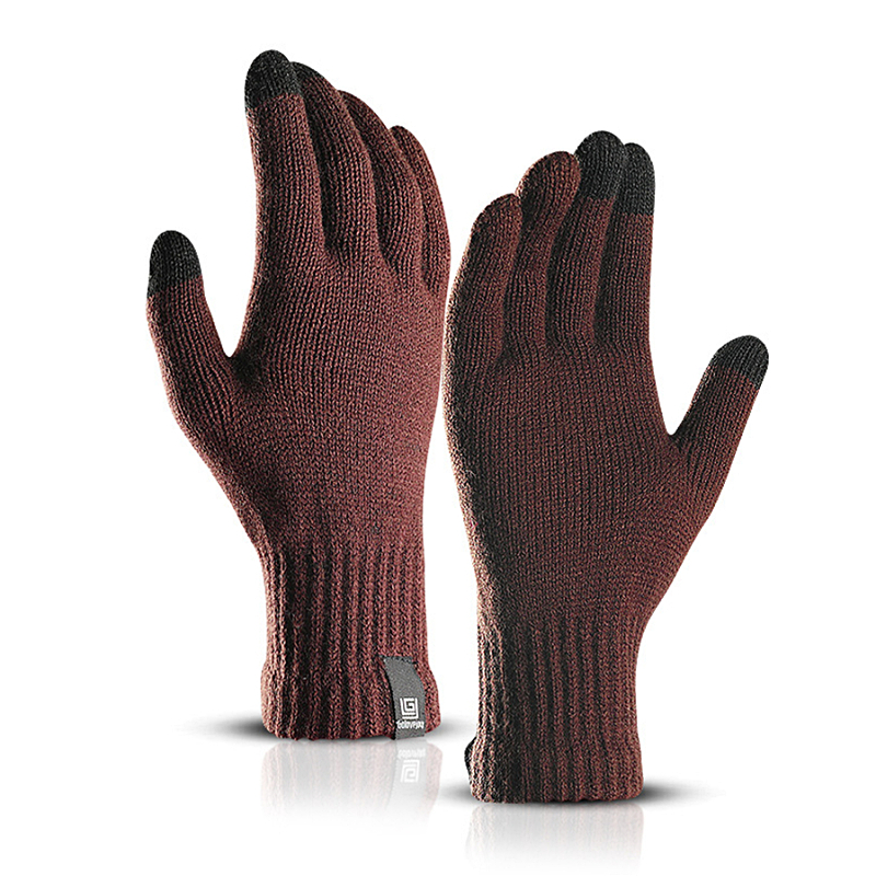 Brand New Delicate Knit Gloves Men Women Winter Touch Screen Simple Solid Color Warm Wool Gloves Unisex Velvet Mittens Glove