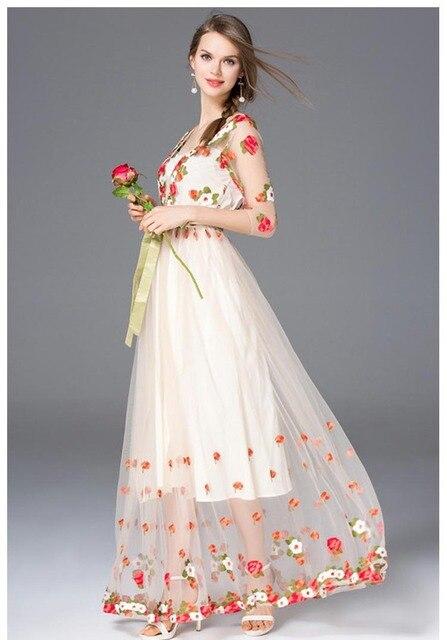 Vestidos largo primavera malla bordado sexy elegante manga tres cuartos 1