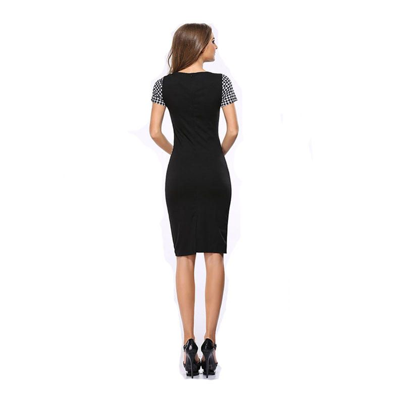 office lady women summer dress plaid dress crescent moon patchwork short sleeve O neck dress cover hip dress drop shipping in Dresses from Women 39 s Clothing