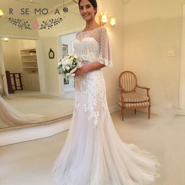 Removable Thin Straps Lace Sheath Wedding Dress With Cape Ivory Over Champagne Ed Destination Dresses
