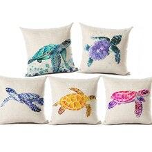 Suluboya boyama okyanus minder örtüsü akdeniz mavi deniz kaplumbağası baskılı keten dekoratif yastıklar durumda ofis kanepesi sandalye