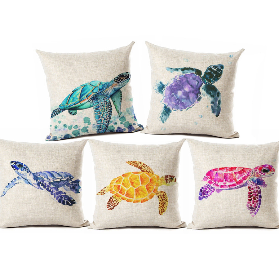Watercolor Painting Ocean Cushion Cover Mediterranean Blue Sea Turtle Printed Linen Decorative Pillows Case Office Sofa Chiar-in Cushion Cover from Home & Garden