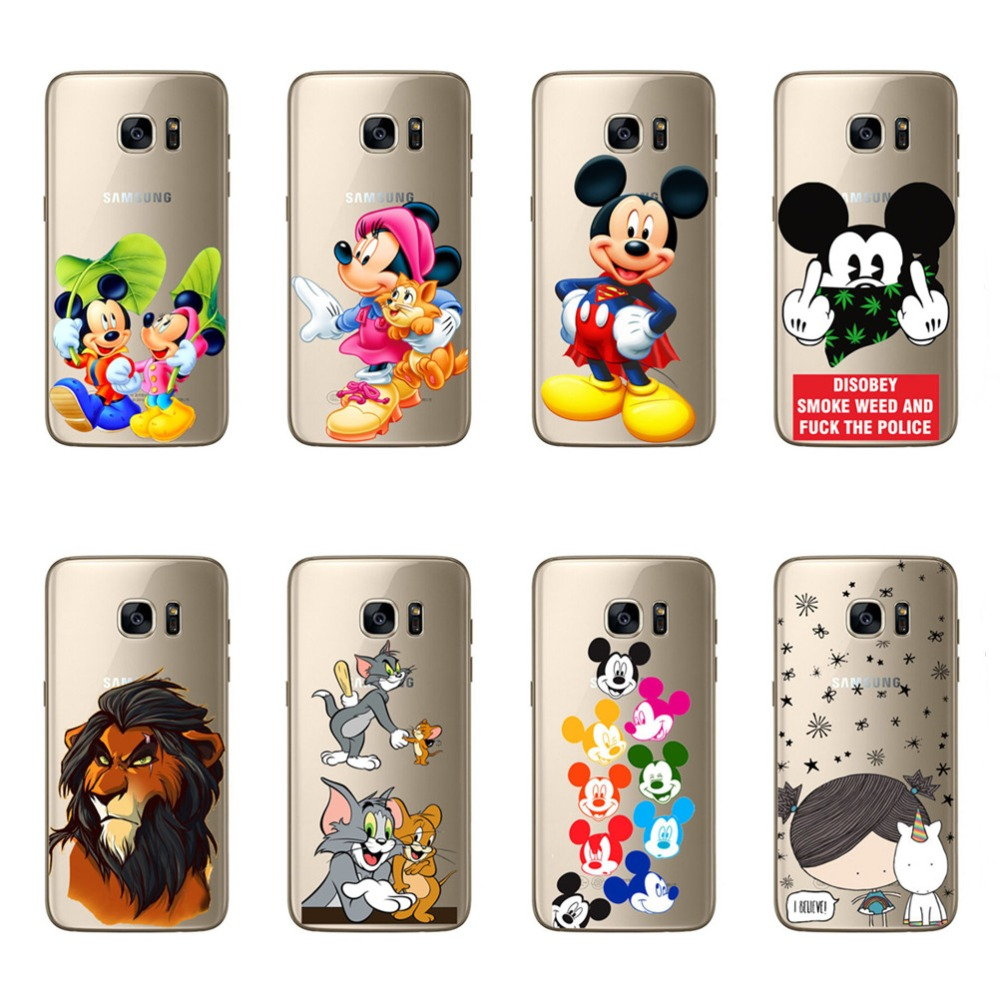 For Samsung Galaxy S7 Luxury Phone Case Cute Mickey Minnie Mouse Lion Cartoon Soft Case Covers For Samsung S7 Funda Coque Coque