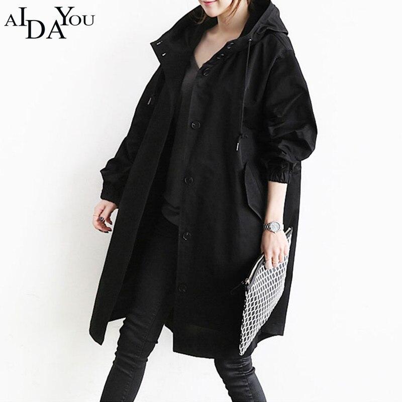 Manteau 2018 Style Lâche Long gray Casual Ouc2619 Solide Britannique Couleur Black Tranchée Pardessus Aidayou Femmes Mode Automne Printemps De 4I1IdP