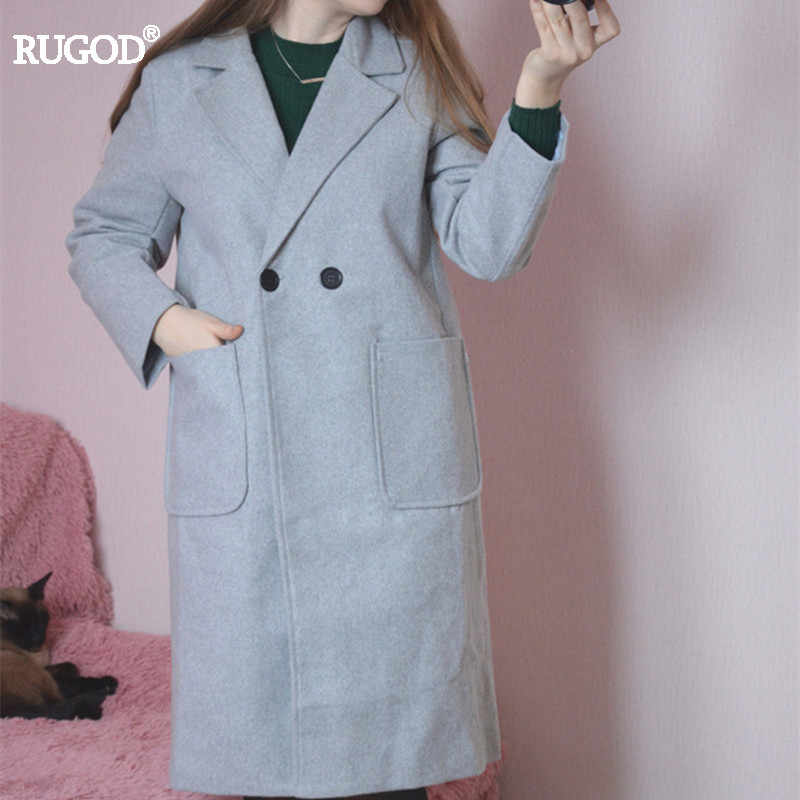 56b4a631a Rugod 2018 Long Wool Coat Women Elegant Woolen Coats Casual Long Sleeve Winter  Coat Women Jackets