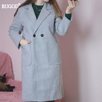 New Korean Style Autumn Winter Elegant Women Woolen Coat Fashion Casual Double Breasted Wool Coats And