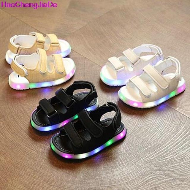 HaoChengJiaDe Musim Panas Dipimpin Cahaya Sepatu Anak Sandal Anak Laki-laki  Perempuan Sepatu Kait   e2c8c95508