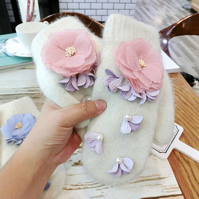Korea design winter women gloves lovey pink chiffon flower women korea design winter women gloves lovey pink chiffon flower women mittens rabbit fur pearl women gloves mightylinksfo Images