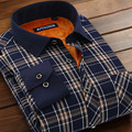 New Autumn and winter male plus velvet thickening thermal shirt male thermal long-sleeve plaid shirt slim men's clothing