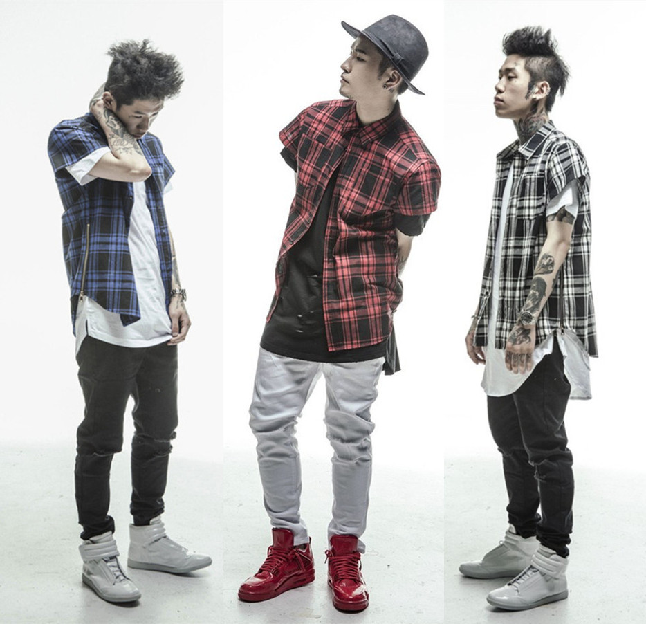 2015 New Fashion Men Hip Hop Tartan Tshirt Oversized Gold Side Extended Zipper Red Blue White