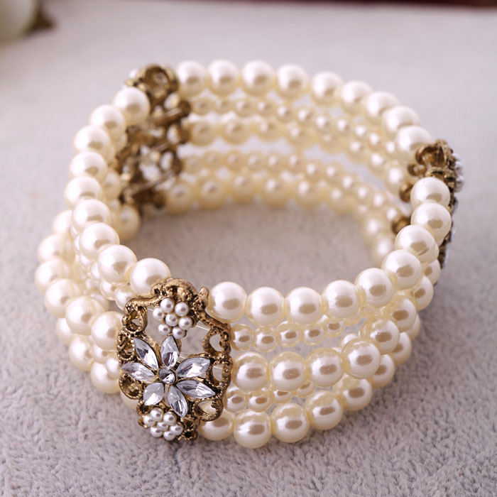 Mode Layered Simulasi Pearl Bracelet Jewelry Wanita Beaded Elastic Bridal Bracelet