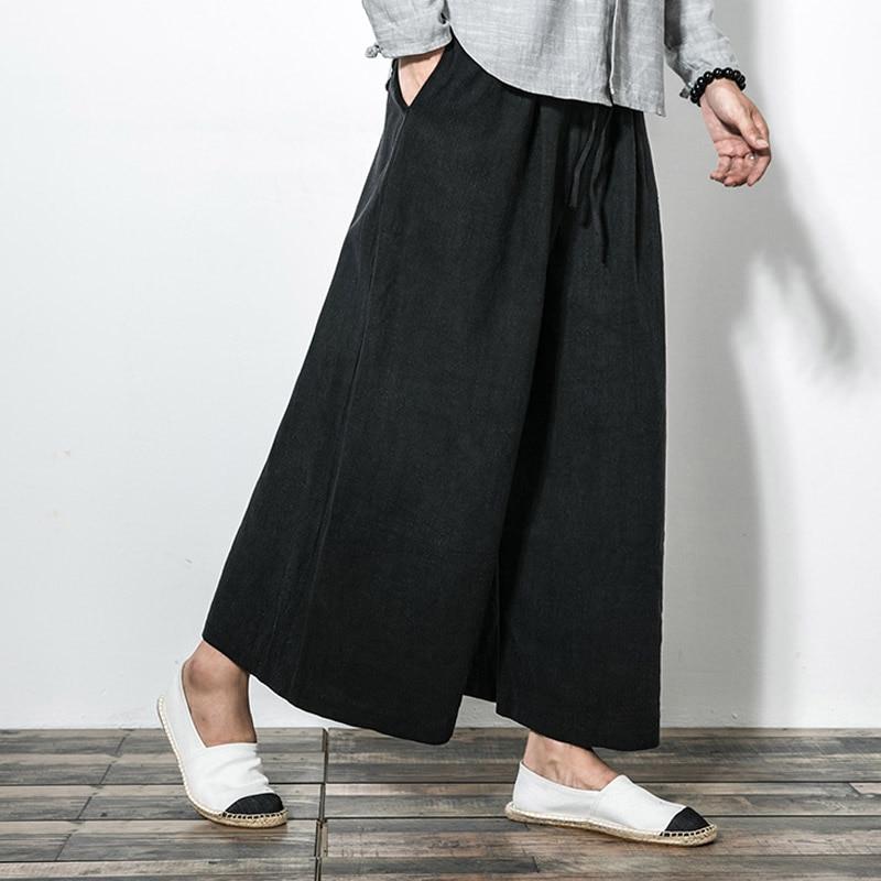 men new cotton linen wide leg pants japanese style kimono