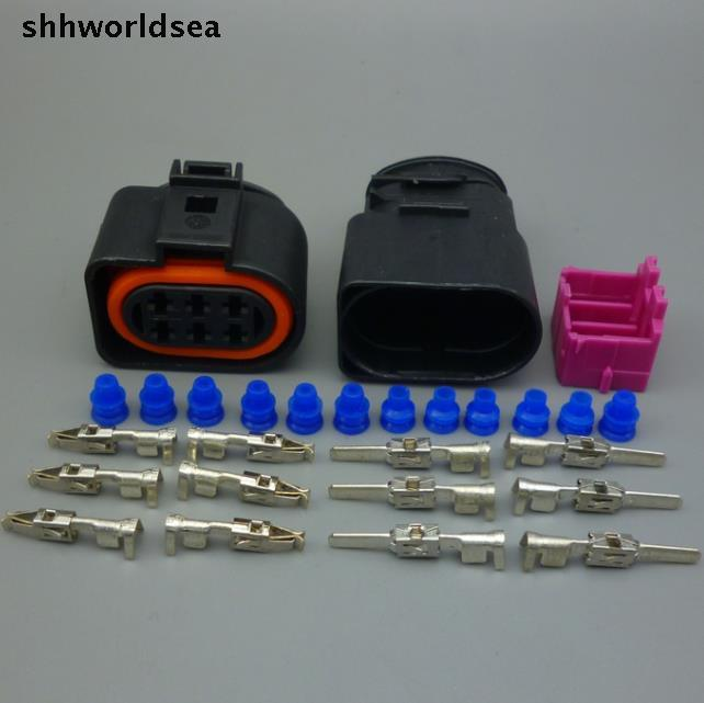 shhworldsea 6 Pin 3.5 Auto LSU 4.2 car auto watgerproof Oxygen Sensor Connector plug For VW AUDI PASSAT 1J0973733 1J0 973 733
