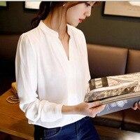 Toptan bahar bayan şifon bluz bayanlar beyaz zarif v yaka uzun kollu şifon gömlek kadın ofis gömlek artı DL1803