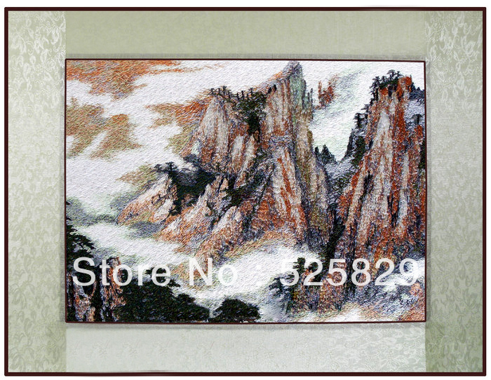 Chinese Traditional Diy Embroidery Mountain peaks Wall Art Beautiful Home Decor Artificial Crafts