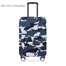 Elastische Gepäck Abdeckungen Reise-koffer Staubdicht Waschbar Anti-kratzer-schutz 20/21/22/24/26/28/29/30/32 Blau-Grau Camouflage
