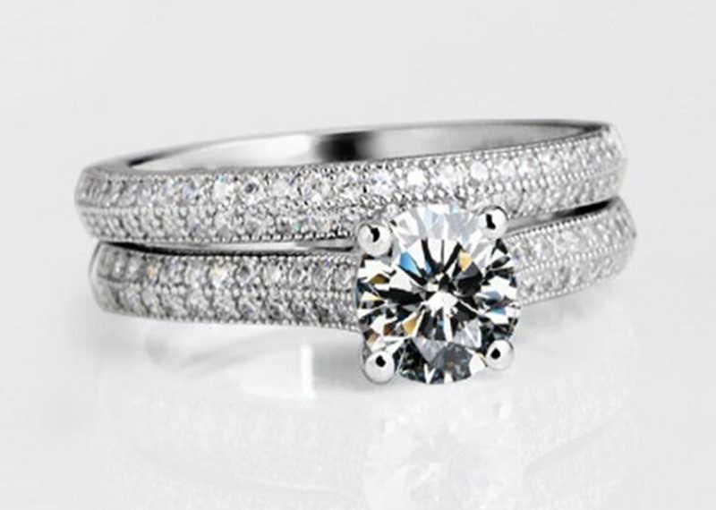 Certificado enviado! Fine jewelry 100% original 925 anéis de prata conjunto para as mulheres zircão cúbico noivado anéis de casamento conjunto presente cr131
