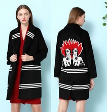 2016  European and American women winter coat embroidered cashmere wool woolen coat H8616561